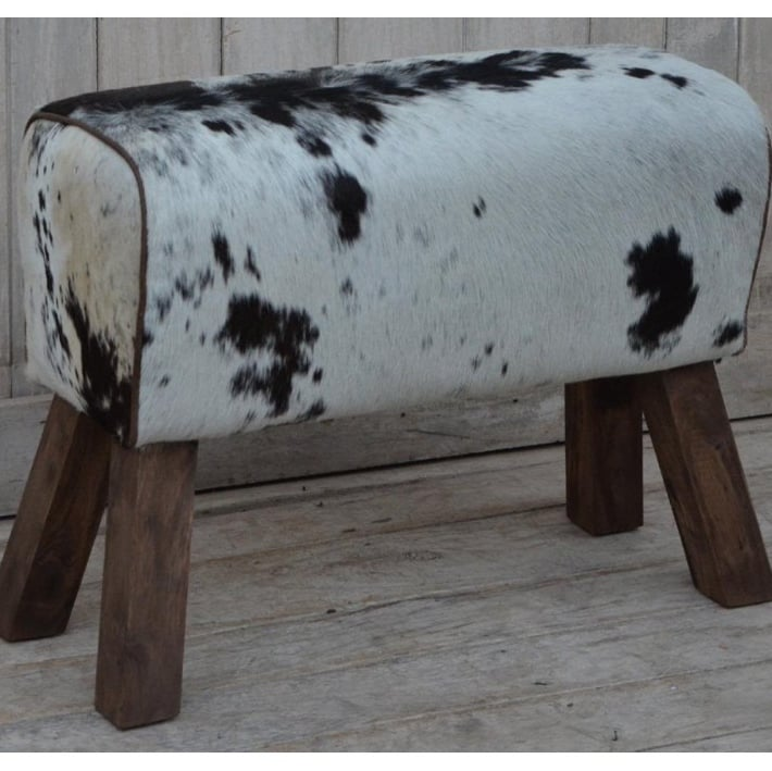 Cowhide Leather Pommel Horse Style Bench
