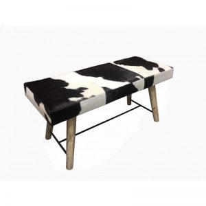 Black/White Cowhide Leather Bench