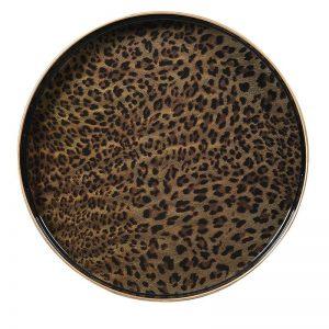 Round Leopard Print Tray