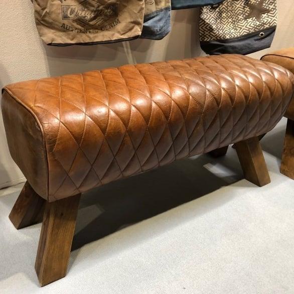 Brown Leather Diamond Stitch Pommel Horse Style Bench