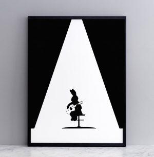 Framed Guitar Rabbit Print