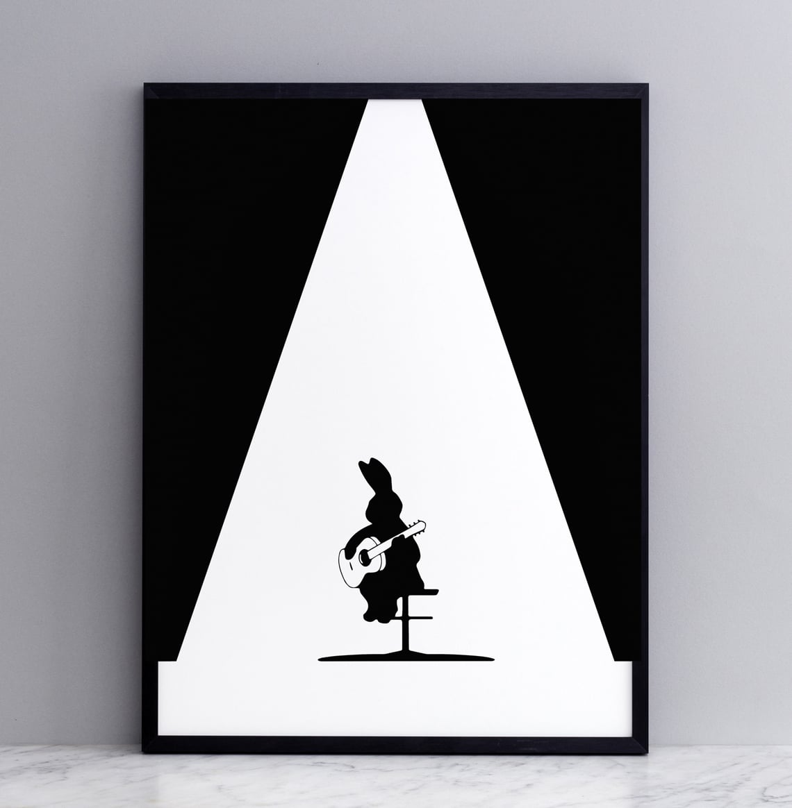 Framed Guitar Rabbit Print