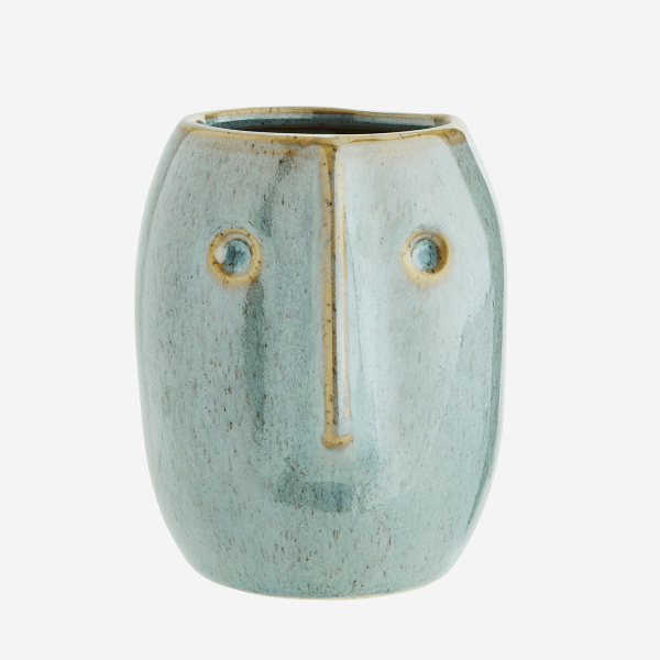 Cheeky Flower Pot With Face Imprint Blue