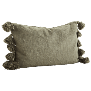 Olive Cushion with Tassels