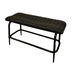 Padded black leather bench