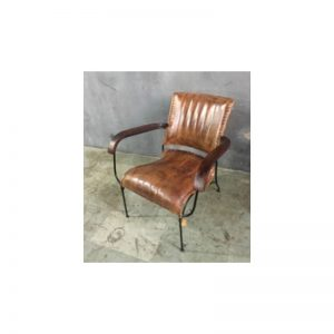 Brown Leather Vertical Stitch Arm Chair