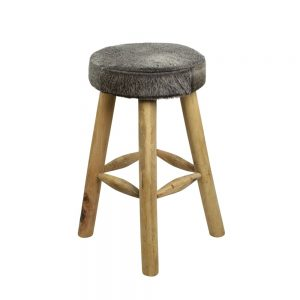 Grey Cowhide Bar Stool