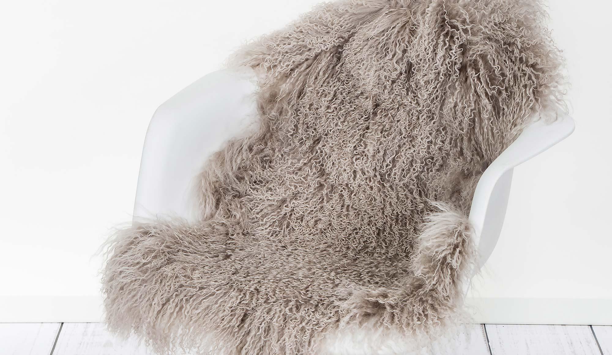 Beige Tibetan Sheepskin Rug