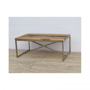 Rectangular Wood Top Coffee Table on Metal Legs Dimensions:120 x 70 x 46 cm