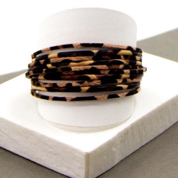 Animal PU Double Wrap Leather Bracelet