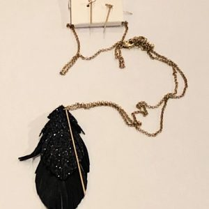 Glitter Long Leaf Necklace
