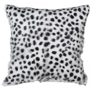 Black Spotted Goat Fur Cushion