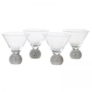 Silver Crystal Ball Martini Glass No Stem