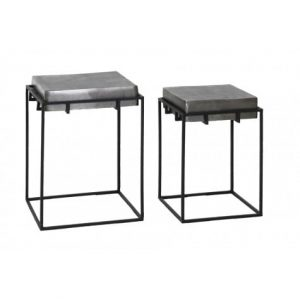 Antique Lead Side Tables (set of 2)