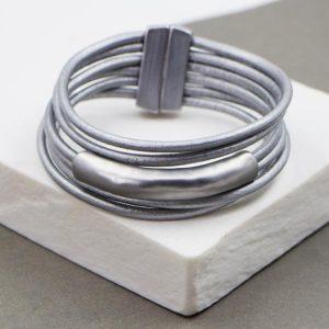Grey Tube Leather Bracelet