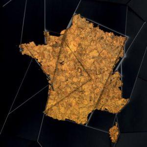 Maps France Golden Print