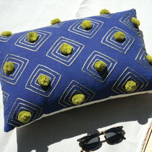 Lime & Blue Boho Pom-Pom Cushion