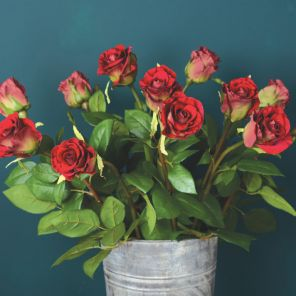 Faux Deep Red Rose Stem