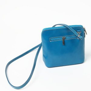 Turquoise Small Leather Cross Over Zip Back Bag