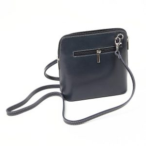 Black Small Leather Cross Over Zip Back Bag