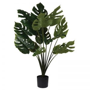 Black Potted Faux Green Monstera