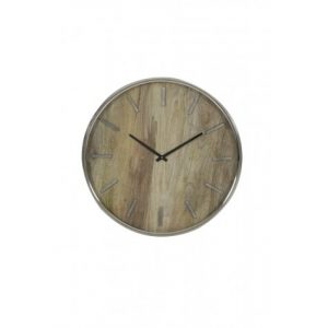 Timaru Wood & Nickel Wall Clock