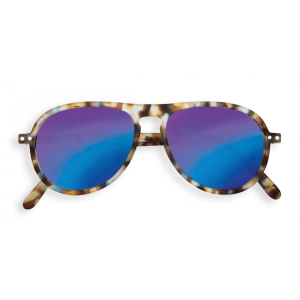 Izipizi # I Aviator Sunglasses Blue Tortoise Mirror Lenses