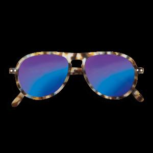 Izipizi # I Aviator Sunglasses Blue Tortoise Mirror Lenses