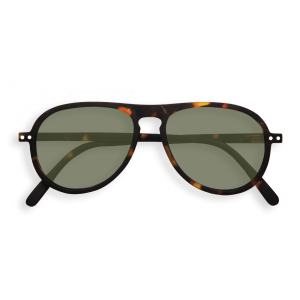 Izipizi # I Aviator Sunglasses Tortoise Green Lenses