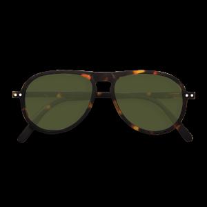 Izipizi # I Aviator Sunglasses Tortoise Green Lenses