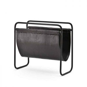 Black Leather Magazine Rack