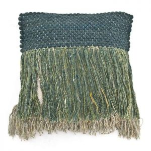 Green Fringed Cushion