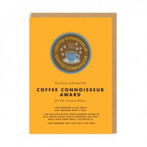 Greetings Coffee Connoisseur Woven Patch Card