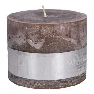 PTMD Rustic Ambient Brown Block Candle 9x12cm