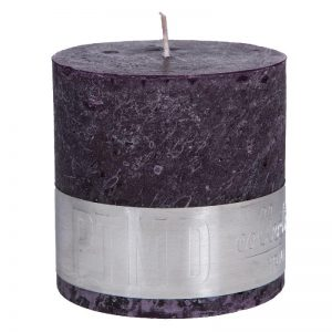 PTMD Rustic Purple Block Candle 10x10cm