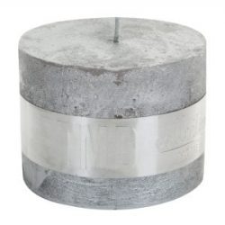 PTMD Metallic Silver Block Candle 9x12cm
