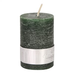 Rustic Dark Green Pillar Candle 6x4cm