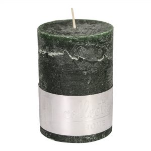 Rustic Dark Green Pillar Candle 10x7cm