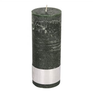 Rustic Dark Green Pillar Candle 18x7cm