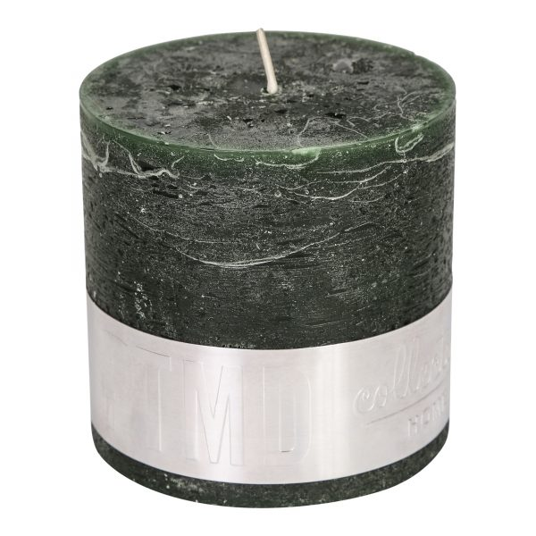 Rustic Dark Green Block Candle 10x10cm