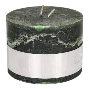 Rustic Dark Green Block Candle 9x12cm