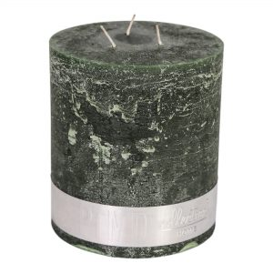 Rustic Three Wick Candle Dark Green