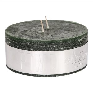Rustic Dark Green Pillar Candle 14x6cm