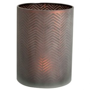 Brown Glass Chevron Candle Holder