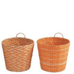 Orange Seagrass Basket Stripe