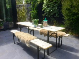 Vintage Foldable Picnic Table & Bench Set