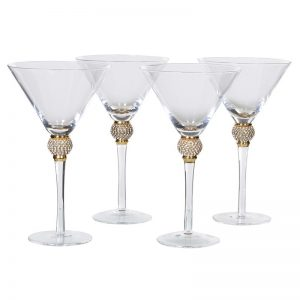 Gold Diamond Stem Martini Glass