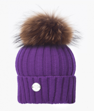 Purple & Natural Classic Knit Pom Pom Hat