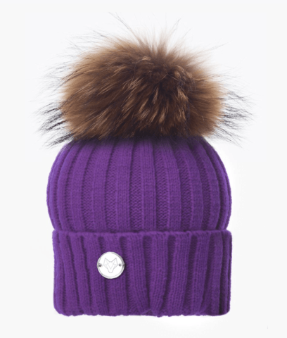 Purple & Natural Classic Knit Pom Pom Hat