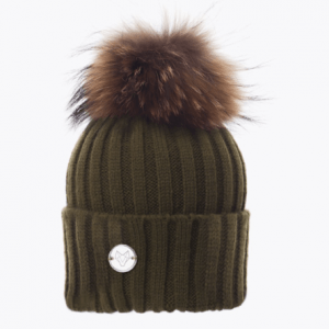 Khaki & Natural Classic Knit Pom Pom Hat
